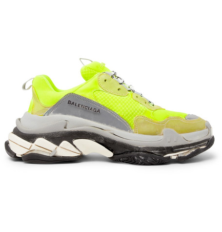 0b3fd107d5759 Balenciaga – Triple S Mesh and Suede Sneakers – Men – Yellow