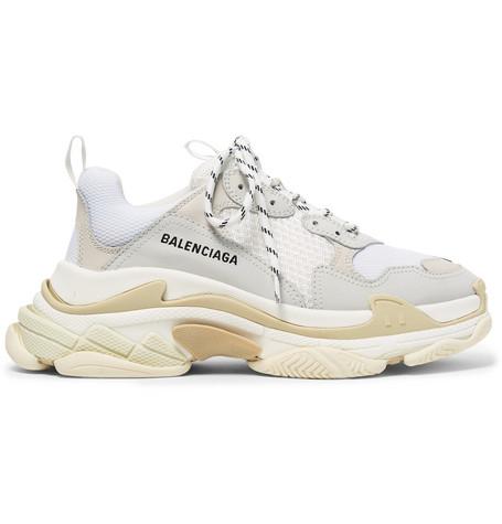 Balenciaga - Triple S Nubuck, Leather and Mesh Sneakers - Men - White