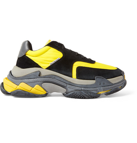 Balenciaga - Triple S Nylon, Nubuck and Leather Sneakers - Men - Yellow