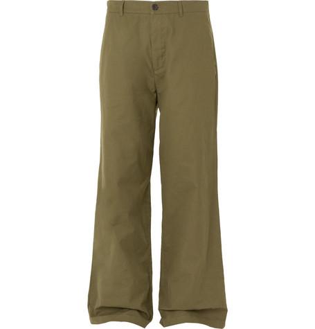 Balenciaga - Wide-Leg Cotton-Canvas Chinos - Men - Green