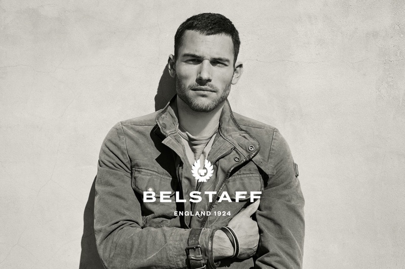 Corey Saucier appears in Belstaff's spring-summer 2019 campaign.