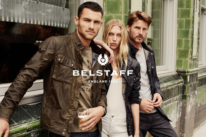 Models Corey Saucier, Juliana Schurig, and Noah Huntley star in Belstaff's spring-summer 2019 campaign.