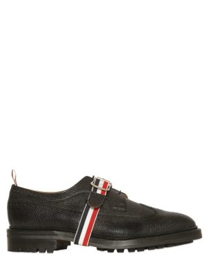 Belted Pebble Leather Derby Shoes