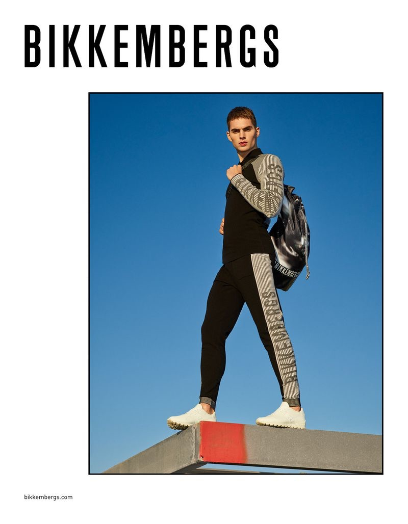 Going sporty, Jurriaan Seppenwoolde fronts Bikkemberg's spring-summer 2019 campaign.