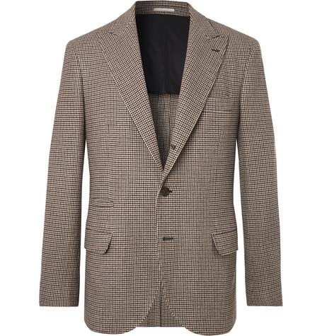 Brunello Cucinelli - Brown Alessio Houndstooth Wool and Cashmere-Blend Blazer - Men - Brown