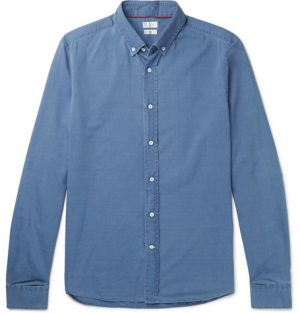 Brunello Cucinelli - Button-Down Collar Cotton-Chambray Shirt - Men - Blue