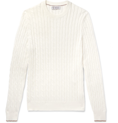 Brunello Cucinelli - Cable-Knit Cotton Sweater - Men - White