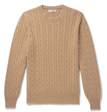 Brunello Cucinelli - Contrast-Tipped Cable-Knit Cashmere Sweater - Men - Beige