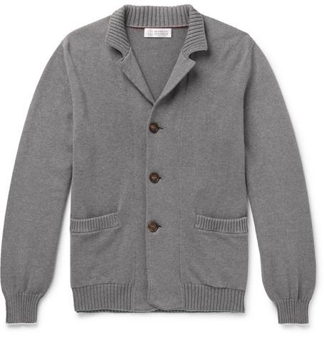 Brunello Cucinelli - Contrast-Tipped Cotton Cardigan - Men - Gray