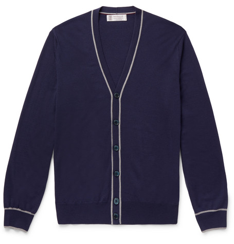 Brunello Cucinelli - Contrast-Tipped Wool and Cashmere-Blend Cardigan - Men - Navy