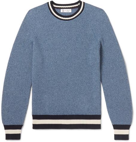 Brunello Cucinelli - Contrast-Trimmed Mélange Cotton-Blend Sweater - Men - Blue