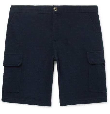 Brunello Cucinelli - Cotton-Blend Cargo Shorts - Men - Midnight blue