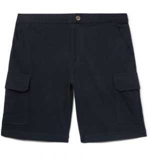 Brunello Cucinelli - Cotton-Blend Jersey Cargo Shorts - Men - Midnight blue