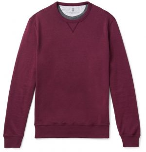 Brunello Cucinelli - Cotton-Blend Jersey Sweatshirt - Men - Burgundy