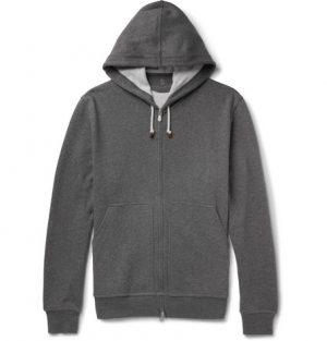 Brunello Cucinelli - Cotton-Blend Jersey Zip-Up Hoodie - Men - Gray