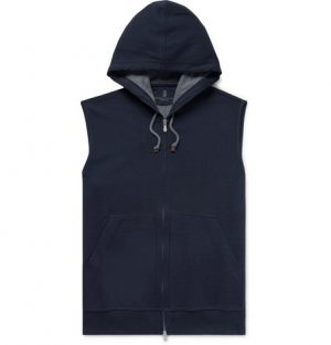 Brunello Cucinelli - Cotton-Blend Jersey Zip-Up Hoodie - Men - Navy