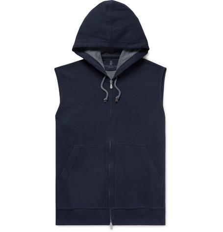 Brunello Cucinelli - Cotton-Blend Jersey Zip-Up Hoodie - Men - Navy