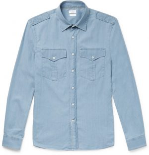 Brunello Cucinelli - Cotton-Chambray Shirt - Men - Light blue
