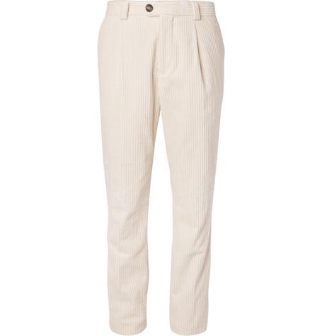 Brunello Cucinelli - Cotton-Corduroy Trousers - Men - Cream