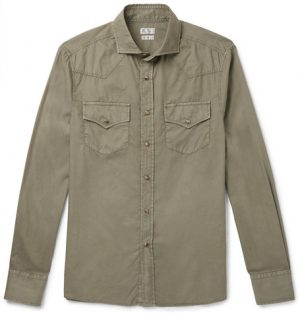 Brunello Cucinelli - Cutaway-Collar Cotton Shirt - Men - Green