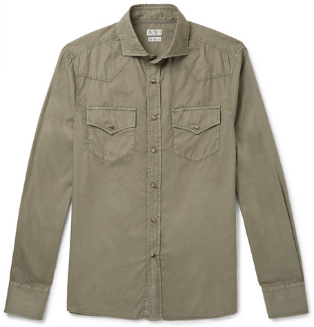Brunello Cucinelli - Cutaway-Collar Cotton Shirt - Men - Green
