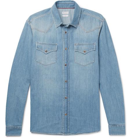 Brunello Cucinelli - Denim Western Shirt - Men - Blue