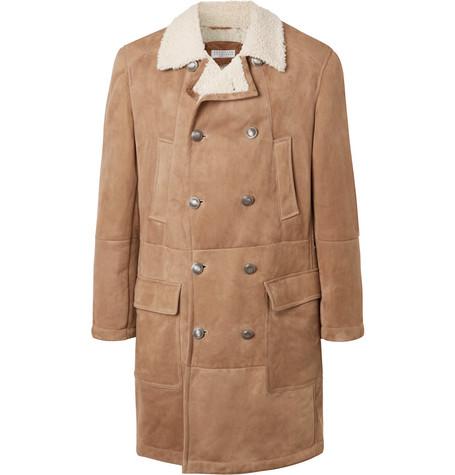 Brunello Cucinelli - Double-Breasted Shearling Coat - Men - Neutral