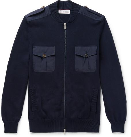Brunello Cucinelli - Knitted Cotton Zip-Up Sweater - Men - Navy