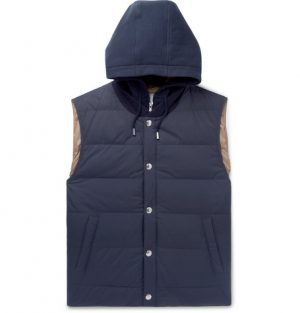 Brunello Cucinelli - Layered Quilted Shell and Stretch-Cotton Jersey Hooded Down Gilet - Men - Navy