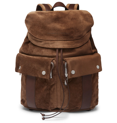 Brunello Cucinelli - Leather-Trimmed Suede Backpack - Men - Brown