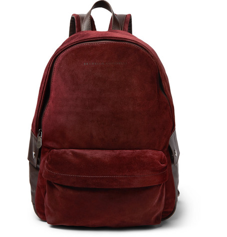 Brunello Cucinelli - Leather-Trimmed Suede Backpack - Men - Burgundy