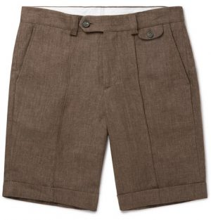 Brunello Cucinelli - Linen Bermuda Shorts - Men - Brown