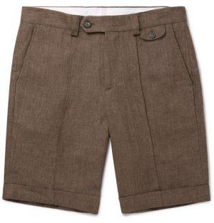 Brunello Cucinelli - Linen Bermuda Shorts - Men - Brown