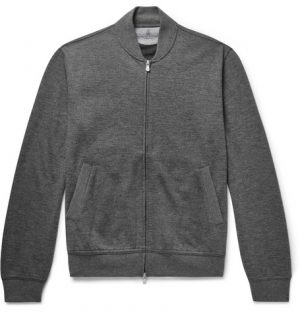Brunello Cucinelli - Mélange Cashmere-Blend Bomber Jacket - Men - Gray