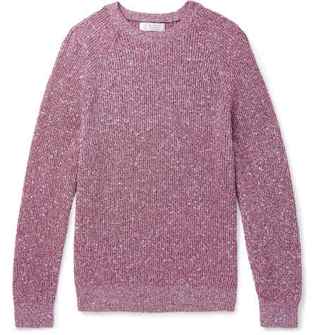 Brunello Cucinelli - Mélange Cotton-Blend Sweater - Men - Burgundy