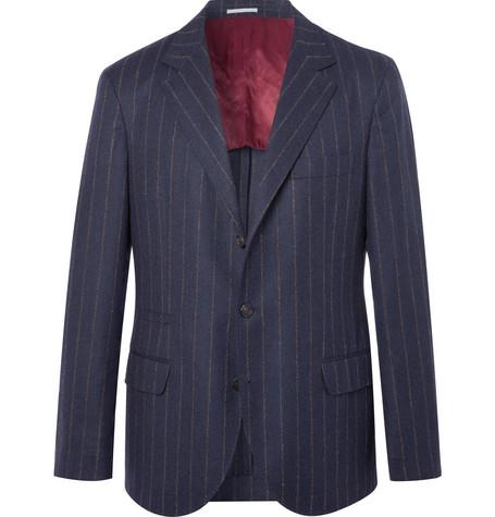 Brunello Cucinelli - Navy Chalk-Striped Wool Suit Jacket - Men - Navy