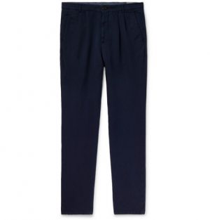 Brunello Cucinelli - Navy Slim-Fit Pleated Linen and Cotton-Blend Chinos - Men - Navy