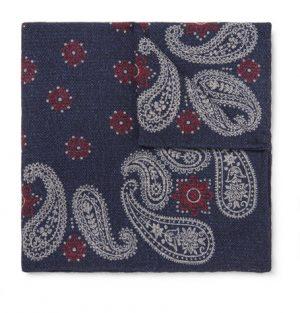 Brunello Cucinelli - Paisley-Print Wool Pocket Square - Men - Navy