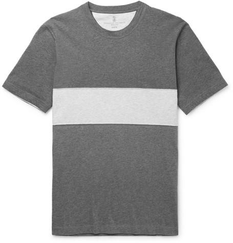 Brunello Cucinelli - Panelled Mélange Cotton-Jersey T-Shirt - Men - Gray