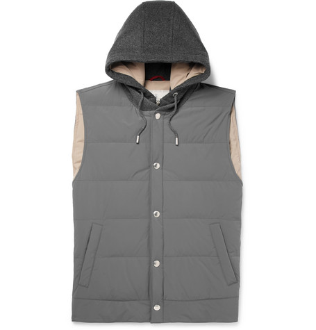 Brunello Cucinelli - Quilted Shell and Cashmere Hooded Down Gilet - Men - Gray