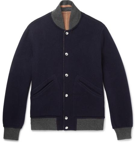 Brunello Cucinelli - Reversible Wool and Cashmere-Blend Bomber Jacket - Men - Navy