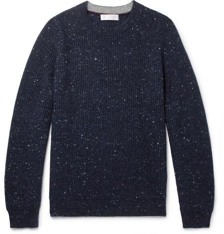 Brunello Cucinelli - Ribbed Virgin Wool-Blend Sweater - Men - Navy