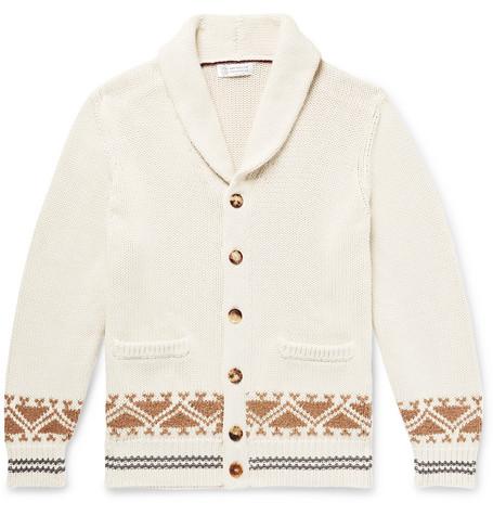 Brunello Cucinelli - Shawl-Collar Cotton-Jacquard Cardigan - Men - Off-white