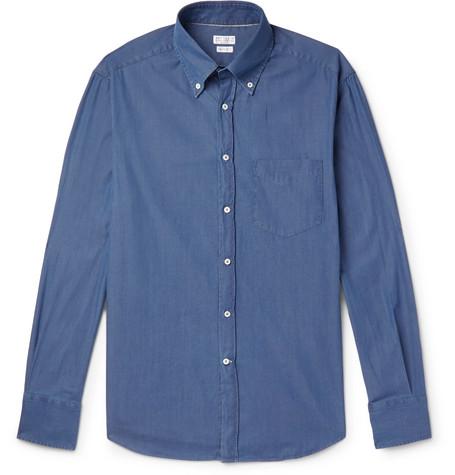 ae71e45ed4 Brunello Cucinelli - Slim-Fit Button-Down Collar Cotton-Chambray Shirt -  Men - Blue
