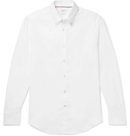 Brunello Cucinelli - Slim-Fit Button-Down Collar Cotton-Poplin Shirt - Men - White