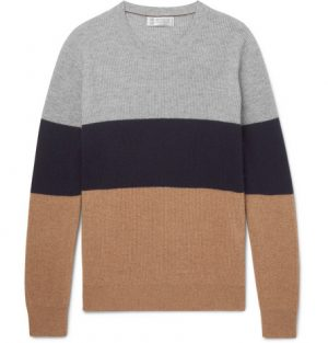 Brunello Cucinelli - Slim-Fit Colour-Block Cashmere Sweater - Men - Navy