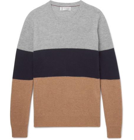 Brunello Cucinelli - Slim-Fit Colour-Block Cashmere Sweater - Men - Navy