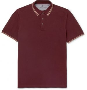 Brunello Cucinelli - Slim-Fit Contrast-Tipped Cotton-Piqué Polo Shirt - Men - Burgundy