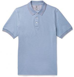 Brunello Cucinelli - Slim-Fit Contrast-Tipped Cotton-Piqué Polo Shirt - Men - Light blue