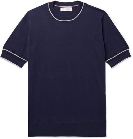 Brunello Cucinelli - Slim-Fit Contrast-Tipped Cotton T-Shirt - Men - Storm blue
